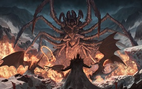 Picture snow, flame, wings, spider, sword, battle, mutant, Silmarillion, into the storm, multi-armed