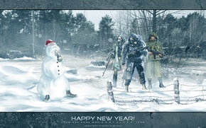 Wallpaper forest, snow, weapons, new year, snowman, Stalker, Stalker, area