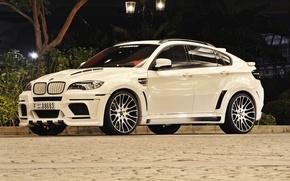 Picture BMW, light, white, Hamann, X6M, night, street