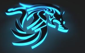Picture dragon, graphics, neon, dragon