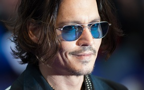Picture look, Johnny Depp, glasses, actor, Johnny Depp, grin