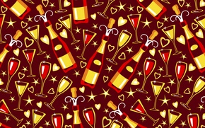 Picture stars, holiday, glass, vector, texture, glasses, hearts, bottle, champagne, Burgundy