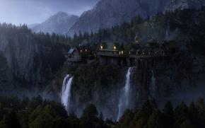 Wallpaper castle of Elrond, elven wood, elven castle, rocks, waterfalls, mountains, elven castle, The Lord of ...