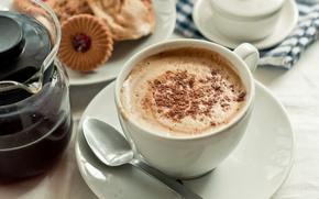 Wallpaper coffee, cream, Cup, saucer