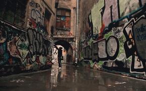 Wallpaper patio, arch, graffiti, the city