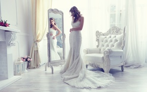 Picture style, reflection, chair, dress, mirror, the bride, wedding dress