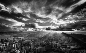 Wallpaper Hong Kong, dawn, black and white, neboskreby, clouds
