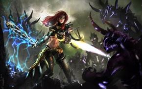 Picture girl, magic, sword, art, monsters, battle, demons