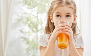 Picture Glass, Hands, Girl, Juice