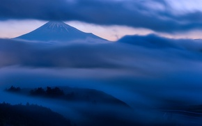 Picture the sky, clouds, trees, fog, hills, mountain, the evening, the volcano, Japan, twilight, Honshu, Fuji