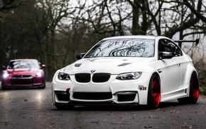 Picture Road, Autumn, BMW, Tuning, White, BMW, Drives, White, E92