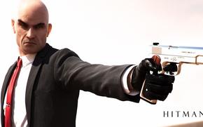 Picture gun, weapons, bald, Hitman, Agent 47, Hitman, Agent