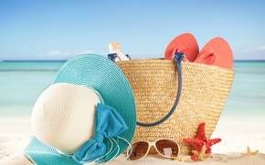 Picture vacation, beach, sand, sea, vacation, summer, glasses, bag, the sun, slates, hat, accessories, stay, sun, ...