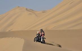 Picture The sky, Sand, Sport, Desert, Motorcycle, Moto, Heat, Dakar, Dune
