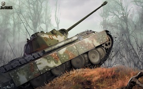 Wallpaper camouflage, forest, PzKpfw V Panther, tank, figure, World of Tanks, average, German, Panther, art, Nikita ...