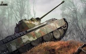 Wallpaper forest, figure, art, Panther, tank, camouflage, German, average, World of Tanks, PzKpfw V Panther, Nikita ...