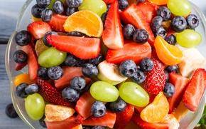 Wallpaper blueberries, strawberry, grapes, dessert, fruit, strawberry, Mandarin, fruit salad, salad