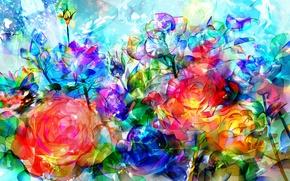 Picture light, transparent, roses, bouquet, sparks