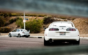 Picture silver, white, white, supra, mitsubishi, toyota, Lancer, Toyota, back, supra, silvery, evolution, Mitsubishi, VIII, lancer …
