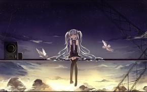 Wallpaper hatsune miku, art, raindsan, microphone, anime, birds, girl, rain, the sun, the sky, vocaloid, clouds, ...