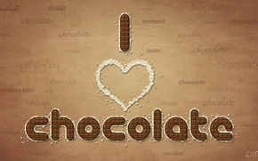Wallpaper words, I love chocolate, chocolate, chocolate
