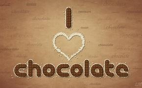 Wallpaper chocolate, words, chocolate, I love chocolate