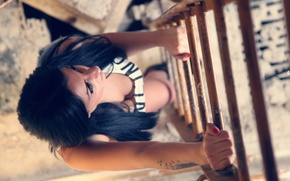 Picture girl, up, view, brunette, ladder, top, photo, photographer, Alessandro Di Cicco