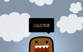 Picture the sky, clouds, Wallpaper, minimalism, vector, picture, character, DOMO-kun, Dōmo-kun