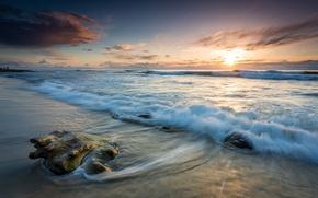 Picture sea, wave, the sky, landscape, shore, the evening, surf