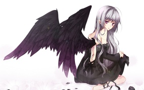 Wallpaper girl, flowers, tape, rose, wings, angel, anime, petals, art, hanesha