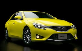 Picture yellow, Toyota, car, black background, Mark X