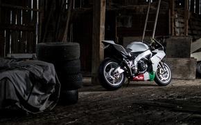 Picture white, tires, motorcycle, white, aprilia, bike, Aprilia, rsv4