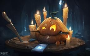 Wallpaper holiday, candles, art, Halloween, pumpkin, phone, Halloween, knives