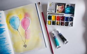 Picture balls, paint, figure, air, brush