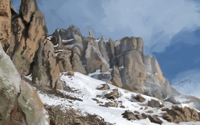 Picture cold, snow, mountains, stones, rocks, art