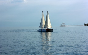 Picture sea, the sky, water, boat, pierce, sail