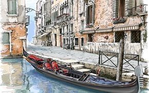 Picture the city, street, home, painting, gondola, Venice