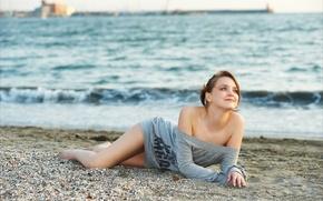 Picture wave, pebbles, shore, Amelie