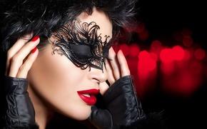Wallpaper brunette, mask, eyes closed
