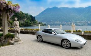Picture sea, mountains, Maserati, statue, Maserati, GS Zagato