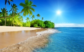 Wallpaper sand, sea, beach, the sky, the sun, tropics, the ocean, shore, summer, sunshine, beach, sky, ...
