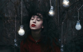 Picture forest, girl, hair, light bulb, Amy Spanos