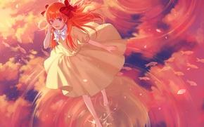 Wallpaper the sky, water, girl, clouds, smile, reflection, anime, art, cotta, sakura chi are, The gekka ...