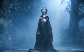 Wallpaper the witch, staff, rig, Maleficent, rod, the film, night, the forest, the night, witch, the ...