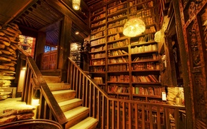 Picture light, books, stairs, Library, shelving