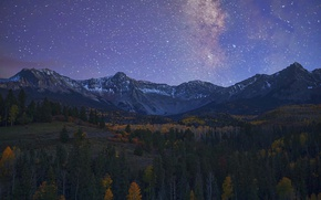 Picture mountains, valley, milky way