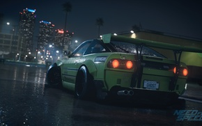 Picture spoiler, Nissan, Need For Speed 2015, tuning, green, Electronic Arts, 240SX