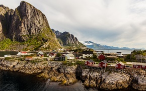 Picture sea, the sky, clouds, rocks, mountain, home, Norway, the village