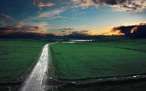 Picture field, grass, Road, Clouds, Sky, Fields, the sky, road, Grass, clouds