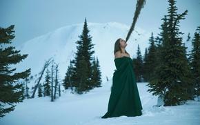 Picture girl, snow, tree, Lichon, Elimination